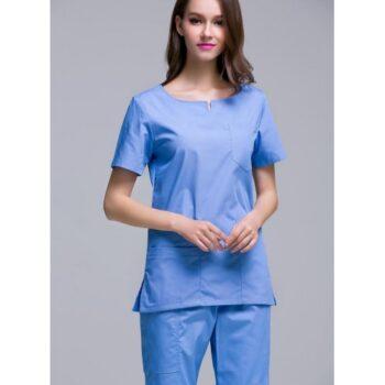 O.T DRESS SKY BLUE BLUE ROUND NECK FEMALE